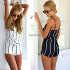 2017 New Sexy Womens Striped Jumpsuit Romper Backless Cotton Summer Playsuit