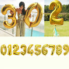 "32"" Gold Silver Helium Foil Number Balloon Birthday Wedding Party Decor Supplies"