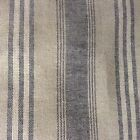 "Harvard Stripe French  Charcoal grey/ Linen 280cm/108"" Curtain Fabric"