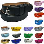 Women's Leather Casual Dress Plain Solid Colors Belt Silver Buckle Ladies New