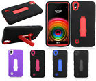 For LG X Power IMPACT Hybrid Hard Protector Rubber Case Phone Cover Kickstand
