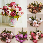 1 Bouquet 8 Heads Vintage Artificial Peony Silk Flower Home Wedding Party Decor