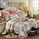Floral Duvet Quilt Doona Cover Set Queen Size Pillow Cases Bedding Set Satin New