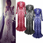 Long Womens Lace Evening Formal Party Ball Gown Prom Bridesmaid Dress Size 6-14