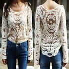 Women's Semi Sheer Sleeve Embroidery Floral Lace Crochet T-Shirt Blouse Top