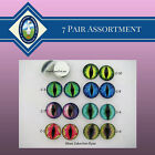 7 Pair Glass Cabochon Eyes 10mm to 14mm Cat, Dragon, Jewelry, Sculpture,  CAB-1