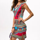 Women Summer Raditional African Print V Neck Bodycon Casual Dress Hot selling
