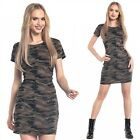 Glamour Empire. Women's Shift Dress Camo Pattern Short Sleeves Crew Neck. 196