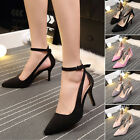 Women Ladies Pointed Toe Studded Buckle Strap High Heel Party Shoes Fashion