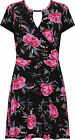 Plus Womens Wrapover Swing Dress Ladies Floral Print Short Sleeve Flared 14-28