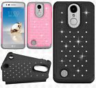 For LG Phoenix 3 HYBRID IMPACT Dazzling Diamond Case Phone Cover +Screen Guard
