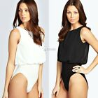 Women Sexy One Piece Swimwear Sleeveless Chiffon Patchwork Solid Beach DZ8801