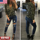 Hot Women Long Sleeve Shirt Casual Loose Blouse Camouflage Print Top T-Shirt