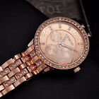 Fashion Luxury Geneva Women's Crystal Stainless Steel Quartz Analog Wrist Watch