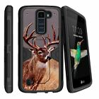 For LG Tribute 5 Protective Kickstand Clip Dual Layer Case + Tempered Glass