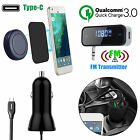 EEEKit QC 3.0 Quick Car Charger+Phone Holder+FM Transmitter for Galaxy S8 Plus