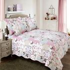 BUTTERFLY PATCHWORK BOUTIQUE QUILT DUVET COVER BEDDING SET PILLOWCASE PINK CREAM