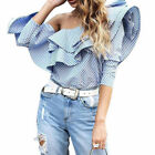 Fashion Women Off Shoulder Top Long Sleeve Blouse Striped Shirt Cocktail Party