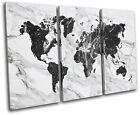 World Atlas Marble Office Maps Flags TREBLE CANVAS WALL ART Picture Print