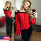 Womens Off Shoulder Long Sleeve Shirt Lace Chiffon Blouse Loose Top T Shirt US