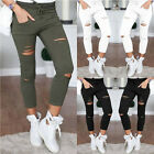 Fashion Women Ripped Capri Pants High Waist Stretch Jeans Slims Pencils Trousers