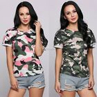 New Fashion Women Casual O-Neck Short Cuffed Sleeve Camouflage Pullover DZ8801