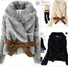 Women Warm Winter Jacket Fluffy Rabbit Faux Fur Belted Outwear Short Coat S0BZ01