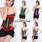 Stripe Lace up Boned Satin Corset Basque Lingerie + Thong Panty and Mini Skirt