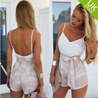 Women White Sleeveless Crop Top Patchwork Color Shorts 2Pcs Set Jumpsuit Romper