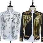 mens tassels sequins dress jacket prom coat outwears pants trousers size M-XL#