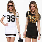New Women's Bodycon Summer Casual Short Sleeve Clubwear Party Short Mini Dress
