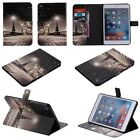 Street lamp view Stand Leather Cover Skin case with card holder for tablet