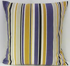 BLUE GREY MUSTARD STONE STRIPED SCATTER CUSHION COVERS SAME FABRIC BOTH SIDES