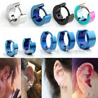 5 Pair Mix Size Stainless Steel Rounded Hoop Huggies Earrings Mens Women Jewelry