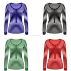 Stylish Women Girls O Neck Long Sleeve Striped T-Shirt Blouse Top EN24H01