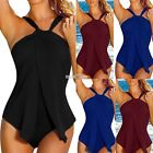 Women Sexy Halter Solid One Piece Push Up Padded Swimdress Swimsuit S0BZ