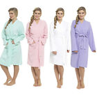 Ladies 100% Cotton Waffle Weave Design Knee Length Dressing Gown Bathrobe