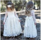 Girls Kids Princess Pageant Birthday Party Long Dress Vintage Lace Flower Dress