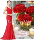 EVELYN Lace Scarlet Red Maxi Bridesmaid Prom Evening Dress Sizes UK 8 - 20