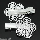 Wholesale Lots HX Silver Plated Filigree Flower Prong Hair Clips Barrettes