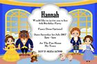 Cute Princess & Beast Birthday Party Invitations Beauty & The Beast Invites