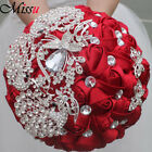 Handmade Luxury Silk Rose Flower Crystal Peacock Brooch Wedding Bridal Bouquet