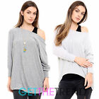 Womens Batwing Necklace Top Ladies Melange Knitted Overlay 2 in 1 Tunic Blouse