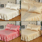QUILT QUILTED SATIN BEDSPREAD SET BED THROW PILLOW CASE COVER GOLD CREAM PINK