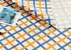 Blue orange Lightweight WATERPROOF FABRIC By The Yard Checked squares (W183<*