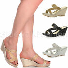 Womens ladies platform mid high wedge diamante crossover strap mules sandal size