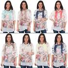 New Womens 3 piece Colourful Sparkle Scarf Summer Blouse Cotton Top Plus Size