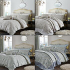 CATHERINE LANSFIELD JACQUARD BEDDING QUILT DUVET COVER SET CREAM DUCK EGG BLUE