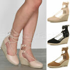 Womens ladies mid high wedge tie up wrap around lace espadrilles sandals size
