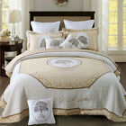 Patchwork Quilted Bedspreads Set Coverlet Throw Rug Queen/King Size Bed Blanket